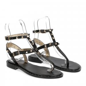 De Capri a Paris sandalo infradito borchie pelle nero