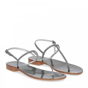 De Capri a Paris sandalo infradito PO14 lurex grigio