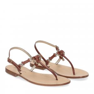 De Capri a Paris sandalo infradito nodino pelle cuoio