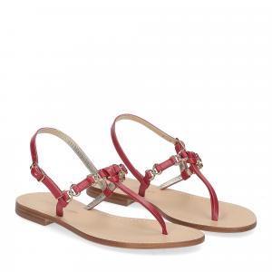 De Capri a Paris sandalo infradito nodino pelle rosso