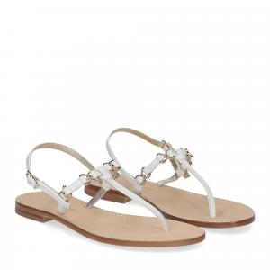 De Capri a Paris sandalo infradito nodino pelle bianco