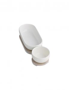 Antipastiera doppia ciotola bianca in porcellana con base legno