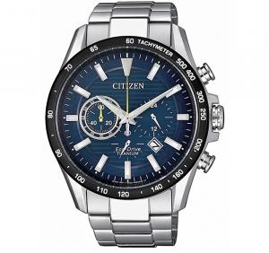 Citizen Crono 4444 cassa e bracciale Supertitanio, lunetta nera, quadrante blu