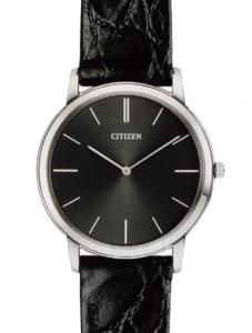 Citizen 0.45 Ultrapiatto Cassa acciaio, cinturino nero, quadrante nero