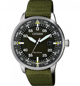 Citizen Aviator cassa acciaio, quadrante verde, cinturino verde