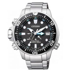 Citizen Aqualand Promaster Eco Drive Depth Sensor cassa e bracciale acciaio, quadrante nero