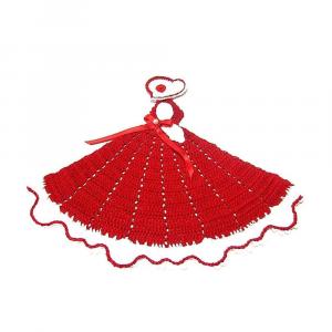 Centrino a forma di dama rosso e bianco ad uncinetto 27x22 H cm Handmade - Italy