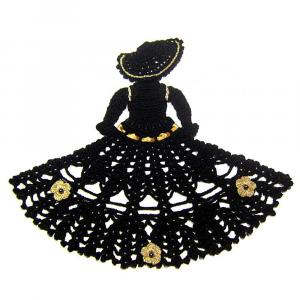 Centrino a forma di dama nero e oro ad uncinetto 30x24 H cm Handmade - Italy