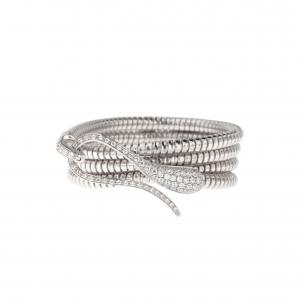Bracciale Elika tubogas con chiusura in oro bianco e diamanti