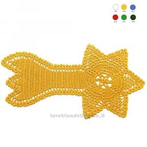 Centrino giallo Stella Cometa ad uncinetto 29x14 H cm - Handmade - Italy