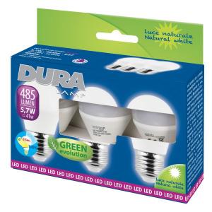 BLISTER 3 LAMPADINE SFERA 5,7W/E27 4000K DURALAMP