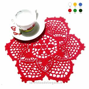 Centrino rosso e argento ad uncinetto 24,5 cm - Handmade - Italy