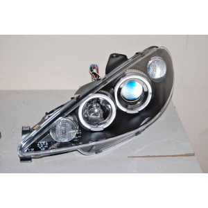 Fanali Anteriori Angel Eyes Peugeot 206 03 Black
