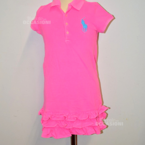 Vestito Bambina Fuxia Polo Ralph Laurent Anni 6 Originale