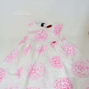 Vestito Bambina Kenzo Anni 3 Bianco Fiori Rosa