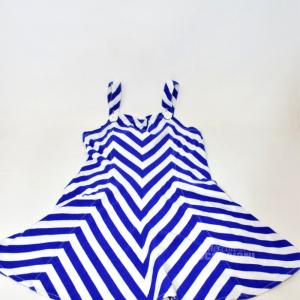 Vestito Bambina A Righe Bianco Blu Anni 4-5 Ralph Laurent Polo