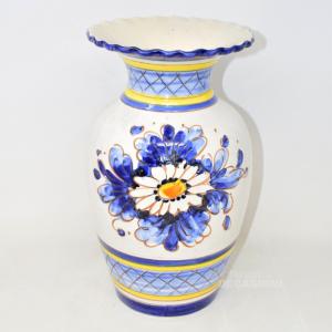Vaso In Ceramica Made In Italy Dipinto E Lavorato A Mano, Altezza 35 Cm