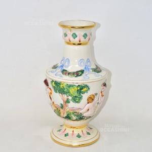 Vaso Capodimonte In Ceramica Made In Italy Dipinto E Lavorato A Mano, Altezza 32 Cm