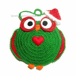 Presina verde gufo natalizio ad uncinetto 15x16 H cm Handmade - Italy