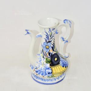 Brocca In Ceramica Bianca Made In Bassano Italia Altezza 20 Cm