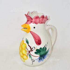 Brocca In Ceramica A Forma Di Gallina Padovana Made In Italy, Altezza 25 Cm