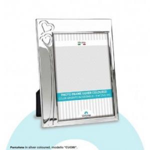 Virtime Porta Foto Con Finiture Argento Bordi Silver 15x20 cm Elegante Ricamato con Cuori 1 Foto