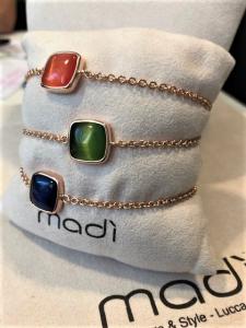 Bracciali Madì - argento 925% rosè con pietre quarzi
