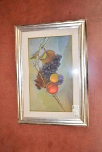 Quadro Dipinto Natura Morta Autore Robertino 48*68 Cm Cornice Arancione