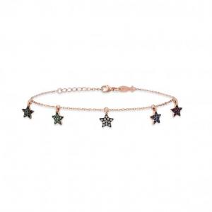 Bracciale Kurshuni in argento rosato mini stelle