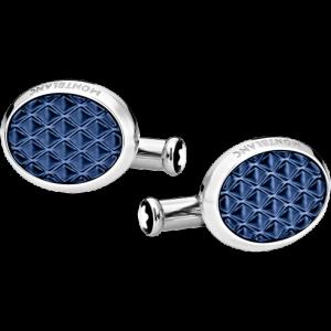 Gemelli Meisterstück ovali in acciaio con inserti in lacca