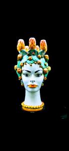 Testa di Donna con Fico d'India Portacandele