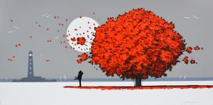 MONDELLI GIO' Innamorati al chiar di luna Tecnica mista su tela Formato cm 60x120
