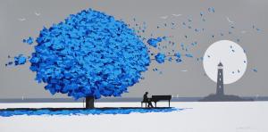 MONDELLI GIO' Musicisti al chiar di luna Tecnica mista su tela Formato cm 60x120