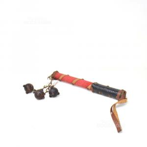 Frusta Antica Con Palle Di Legno 28cm