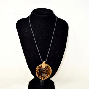 Collana Con Ciondolo Nero E Oro In Vetro Di Murano