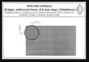 Anti-slip surfaces X-type