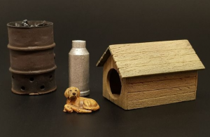 Dog house with dog