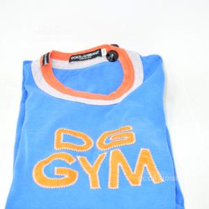 T-shirt Uomo Dolce E Gabbana Originale Azzurra E Arancione Tg