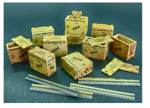 US ammunition boxes with belts of charges