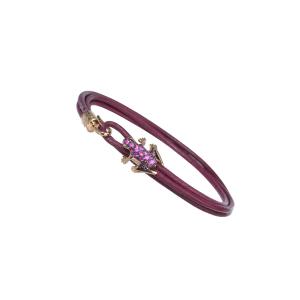 Leather bracelet, 18k gold and diamonds
