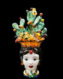 Ceramiche di Caltagirone Bomboniera Donna con Fico d'india