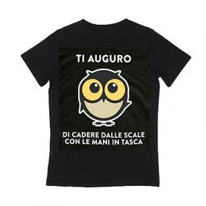 IO TI MALEDICO t-shirt TI AUGURO DI CADERE DALLE SCALE CON LE MANI IN TASCA cot