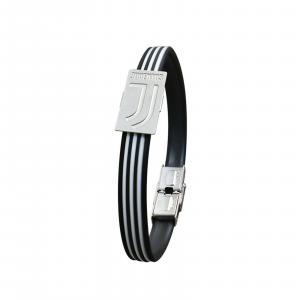 Bracciale JUVENTUS prod uffic. in PVC nero con inserti bianchi logo in acciaio