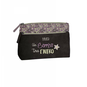 Beauty porta oggetti MINIPA in eco-pelle tortora scuro e cipria fantasia stelle