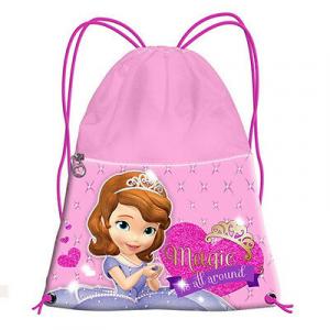 PRINCIPESSA SOFIA sacca rosa e fucsia con zip davanti 34,5x26 cm da bambina