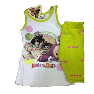 Completo canotta bianca+ leggings verde a pois MASHA E ORSO in cotone da bambino