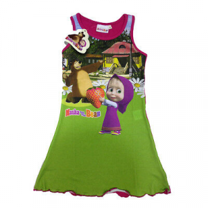 Vestitino smanicato MASHA E ORSO in cotone fucsia con stampa da bambina