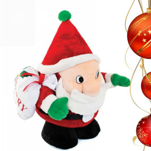 Babbo Natale peluche morbidissimo alto 60cm e largo 38cm con sacco porta oggetti