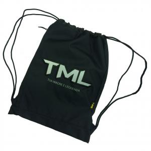 Sacca zainetto coulisse nero TML TUA MADRE E' LEGGENDA con zip laterale 34,5x46