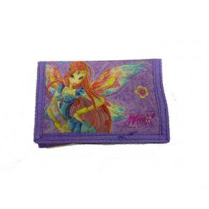 WINX portafoglio con strappo viola con disegno 3D effetto brillantinato 14x9,5cm